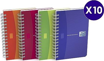 Oxford My colours - Pack de 10 cuadernos doble espiral, tapa ...
