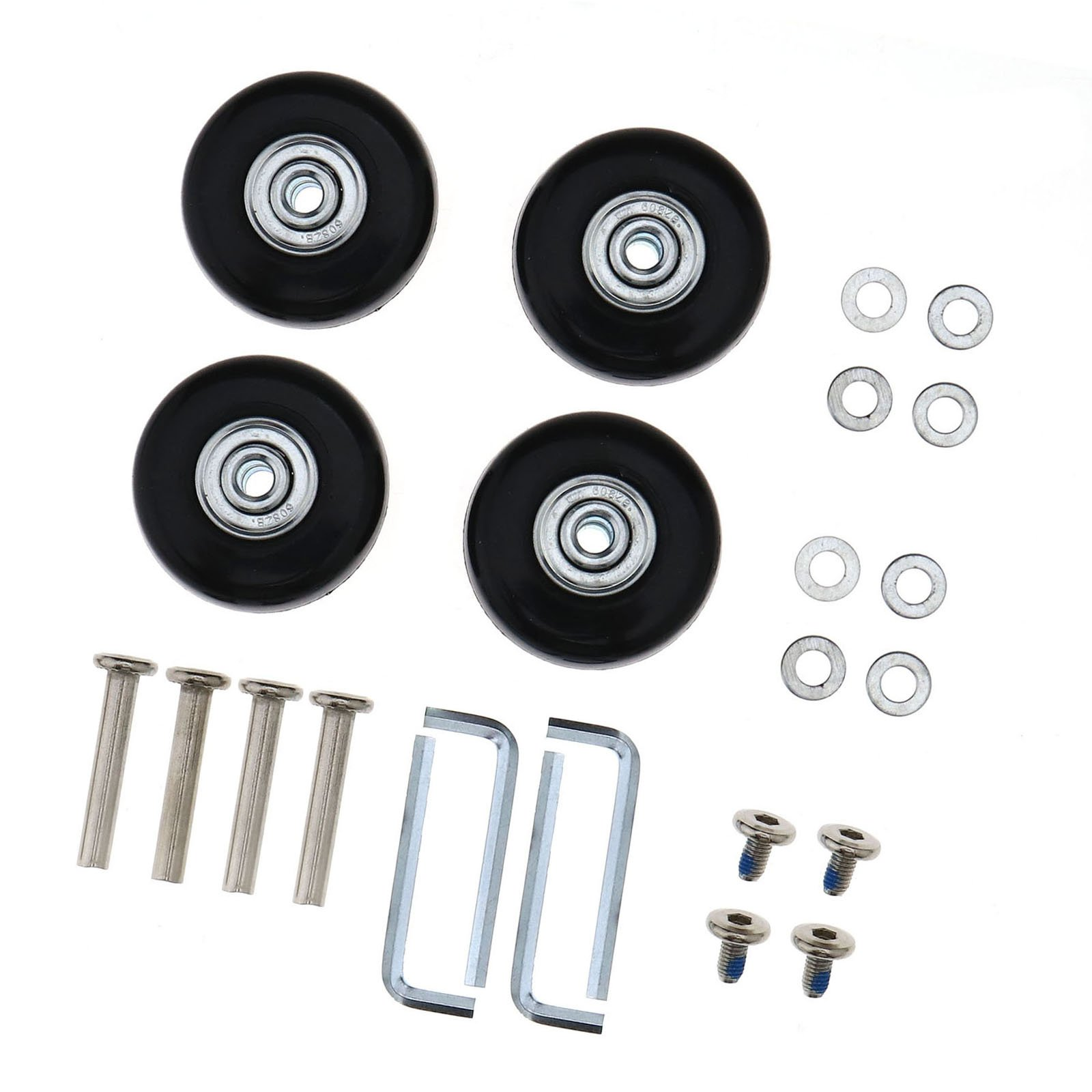 SING F LTD 2 Pairs Luggage Suitcase Replacement Wheels Axles Rubber Deluxe Repair OD 45mm by SING F LTD