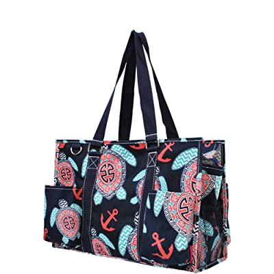 Sea Turtle Anchor Print Zippered Caddy Organizer Tote Bag
