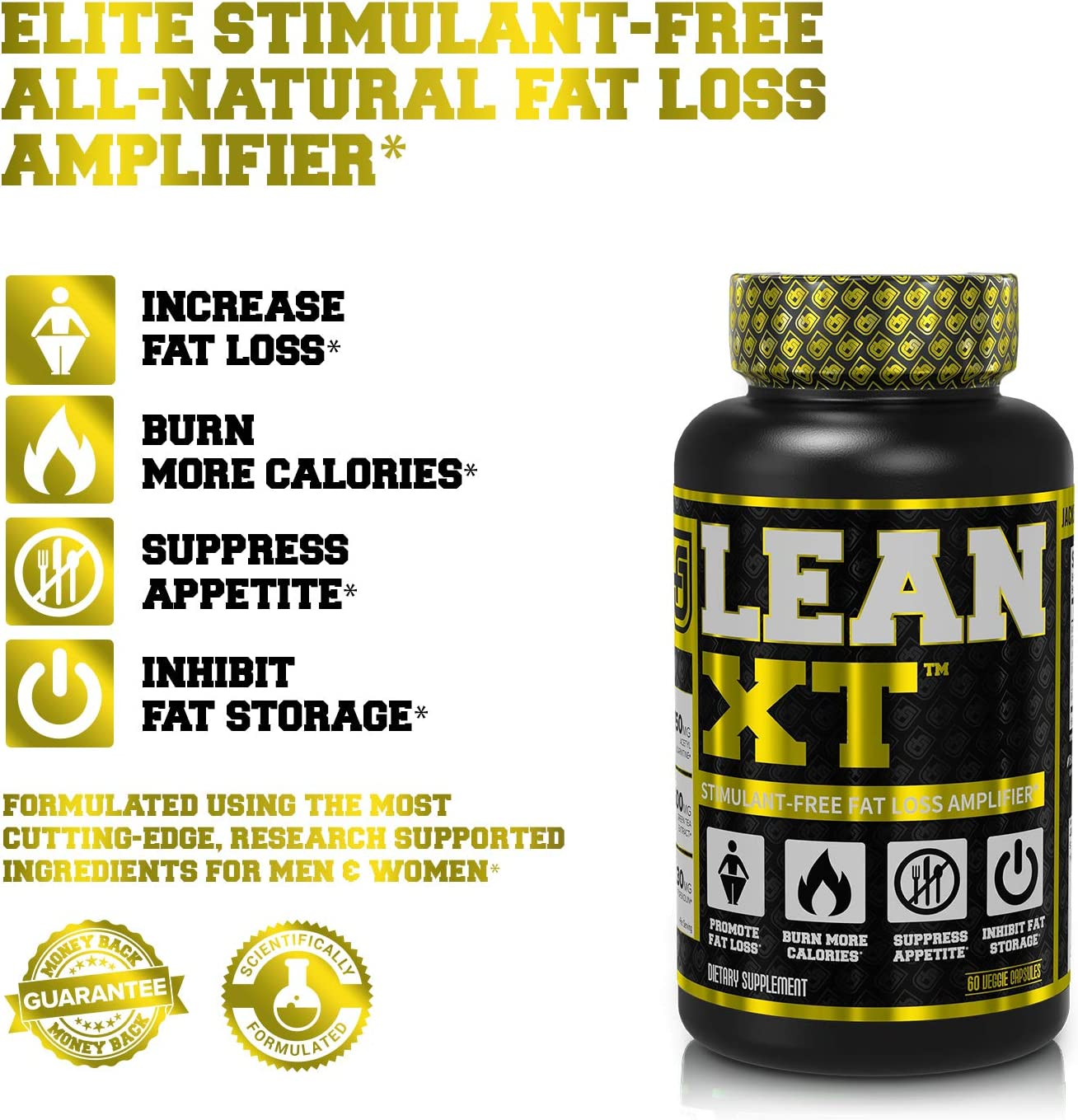 Lean-XT Non Stimulant Fat Burner - Weight Loss Supplement, Appetite Suppressant, Metabolism Booster with Acetyl L-Carnitine, Green Tea Extract, Forskolin - 60 Natural Diet Pills