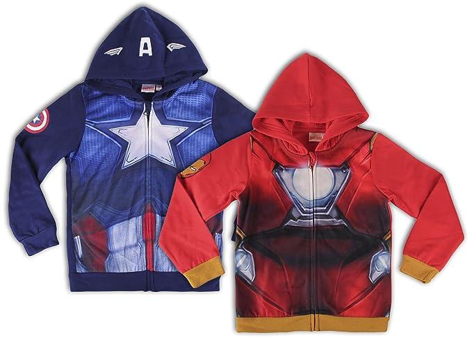 Marvel Avengers - Felpa con Zip e Cappuccio Full Print Riproduce Armatura  Iron Man o Captain f299cc7b2a32