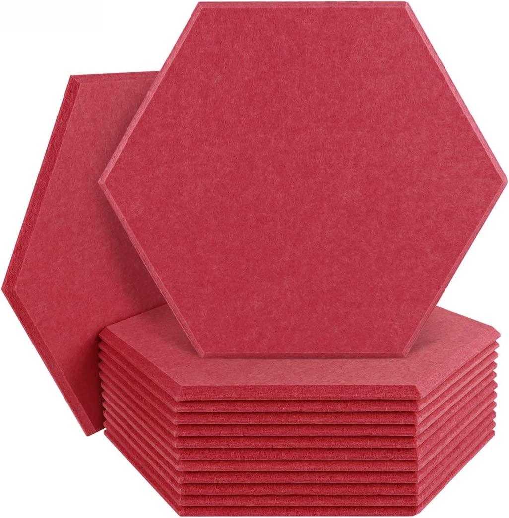 DEKIRU 12 Pack Acoustic Panels Sound Proof Padding, 14X 13 X 0.4 Inches Sound dampening Panel Used in Home & Offices(Hexagon,Dark Red)