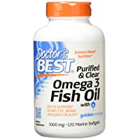 Doctor's Best Purified & Clear Omega 3Fish Oil, No Reflux, Supports Heart, Eyes,...