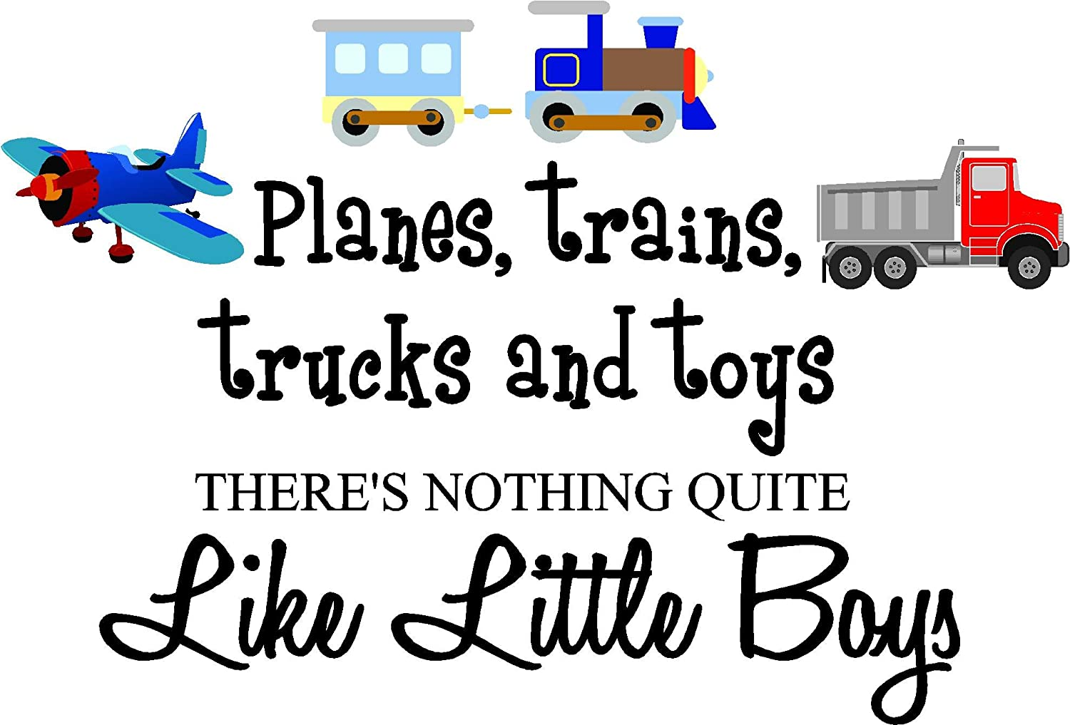 Planes, Trains, Trucks and Toys There's Nothing Quite Like Little Boys (Printed Plane, Train, Truck Set) Cute Inspirational Home Vinyl Wall Decals Sayings Art Lettering