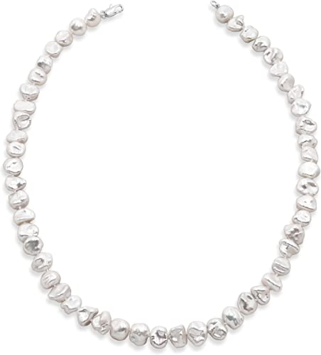 Secret & You Collar de Perlas de Mujer Cultivadas de Agua Dulce Barrocas Keshi Tipo Gargantilla de 40 o 45 cm de Largo Perlas Barrocas Keshi Cuatro tamaños 7-10 a 11-12mm con Nudo Entre Cada Perla