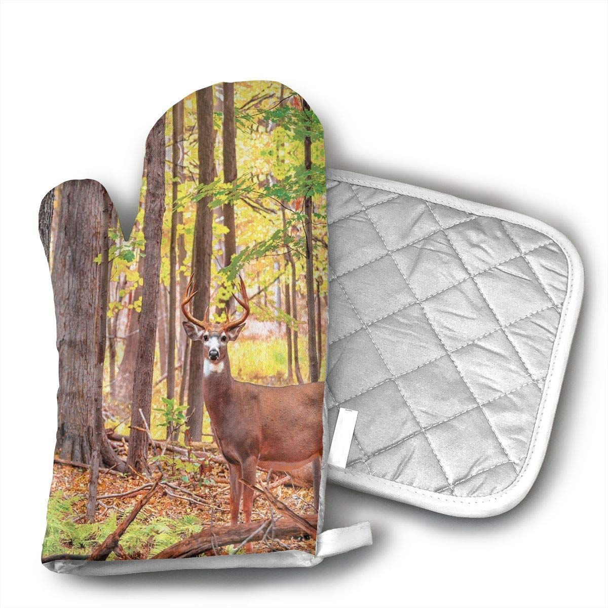 Deer Shower Curtain Whitetail Antlers Natural Forest Oven Mitts and Pot Holders Set with Polyester Cotton Non-Slip Grip, Heat Resistant, Oven Gloves for BBQ Cooking Baking, Grilling