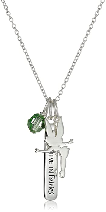 0ee65ad8c Disney Sterling Silver Tinkerbell I Do Believe Swarovski Green Crystal  Charm Pendant Necklace, 18
