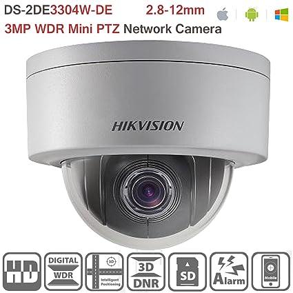 Hikvision DS-2DE3304W-DE 3MP Network Mini PTZ Repositionable Dome Camera  POE 4X Optical Zoom H 264 Video Compression Format Outdoor Security