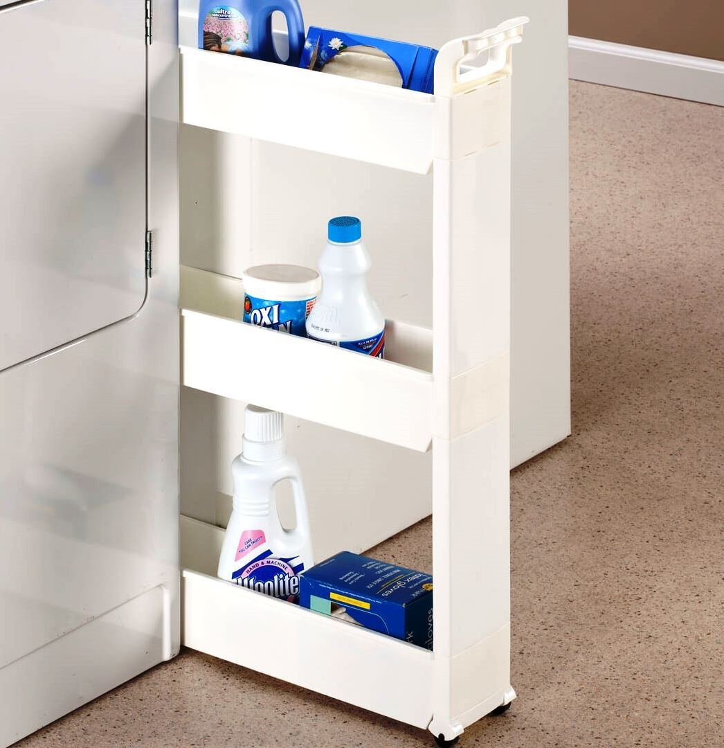MS HOME Slide Out Slim Cart with 3 Baskets and Carrying Handle - Each Shelf holds up to 6.5 lbs. - Easy snap-together assembly - White - 21'' L x 5'' W x 28.3'' H