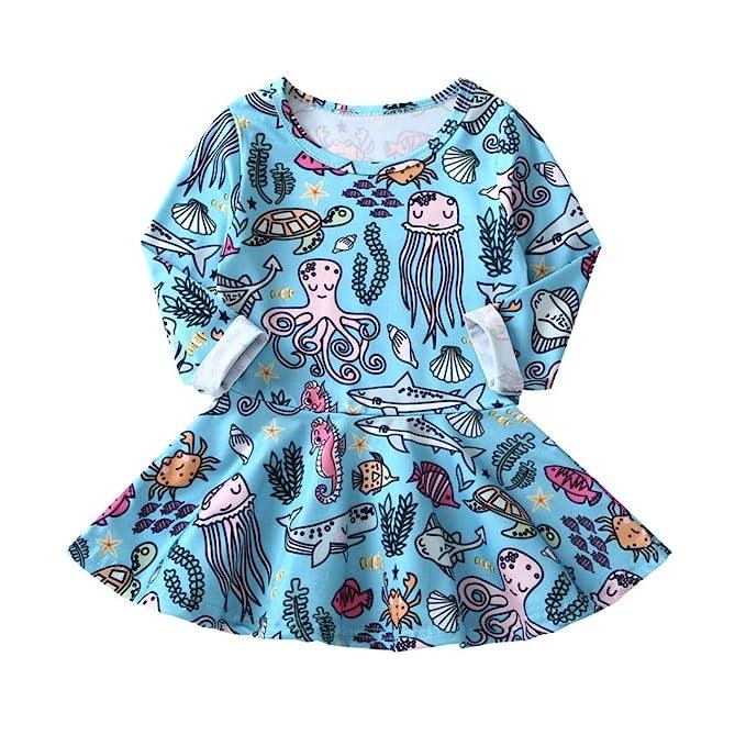 PAOLIAN Vestidos para Bebe niñas Otoño 2018 Vestidos niñas Manga Larga Estampado Animales Marinos Monos recién