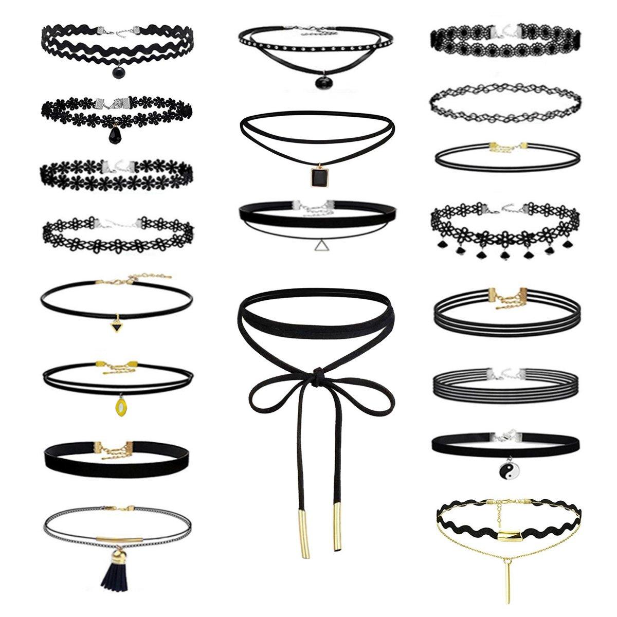 Eigso 20Pcs Girls Womens Velvet Ribbon Necklace Gothic Tattoo Lace Choker Henna Elastic Choker Set Adjustable