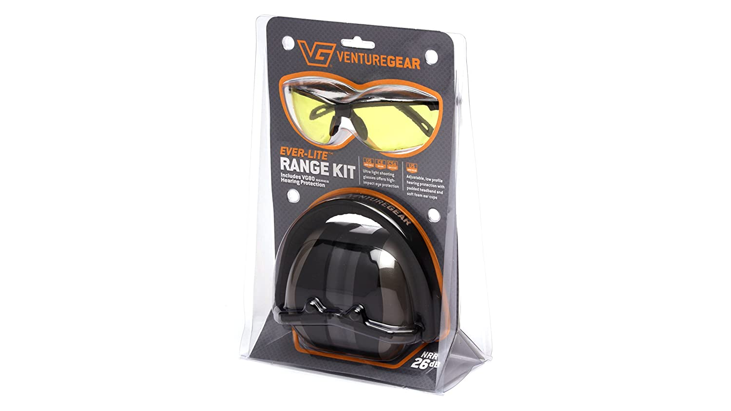 0e8dc3584aa Amazon.com   Venture Gear Shooting Glass and Hearing Protection Range Kit