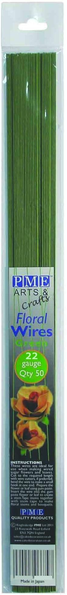 PME 50pk Florist Wires for Floral Flower Sugarcraft Gumpaste Cake Decoration