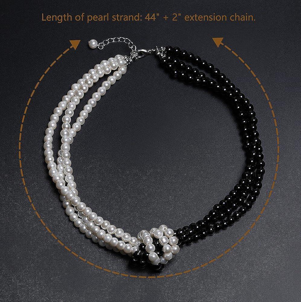 Artideco 1920S flapper collana nodo collana di perle finte Gatsby costume 20S flapper Accesories bicolor collana di perle