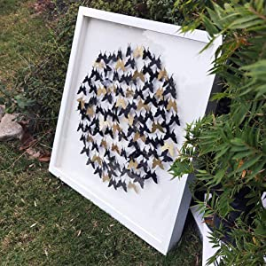 Modern 24x24 Inch Butterfly Framed Wall Art,Paper Cut Out Butterflies with Shadow Box Front Glass for Living Room Entrance Corridor Bedroom Home Decor,Black Gold