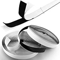 Royalkart Hook & Loop Tape Roll Strips with Adhesive Back Mounting Tape for Picture & Tools Hanging Pedal Board Fastening (5m Hook + 5m Loop) Black Stick-On Tape (Black)