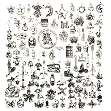 100x Vintage Charms DIY Basteln Anhänger Schmuck Zubehör für Armband Kette