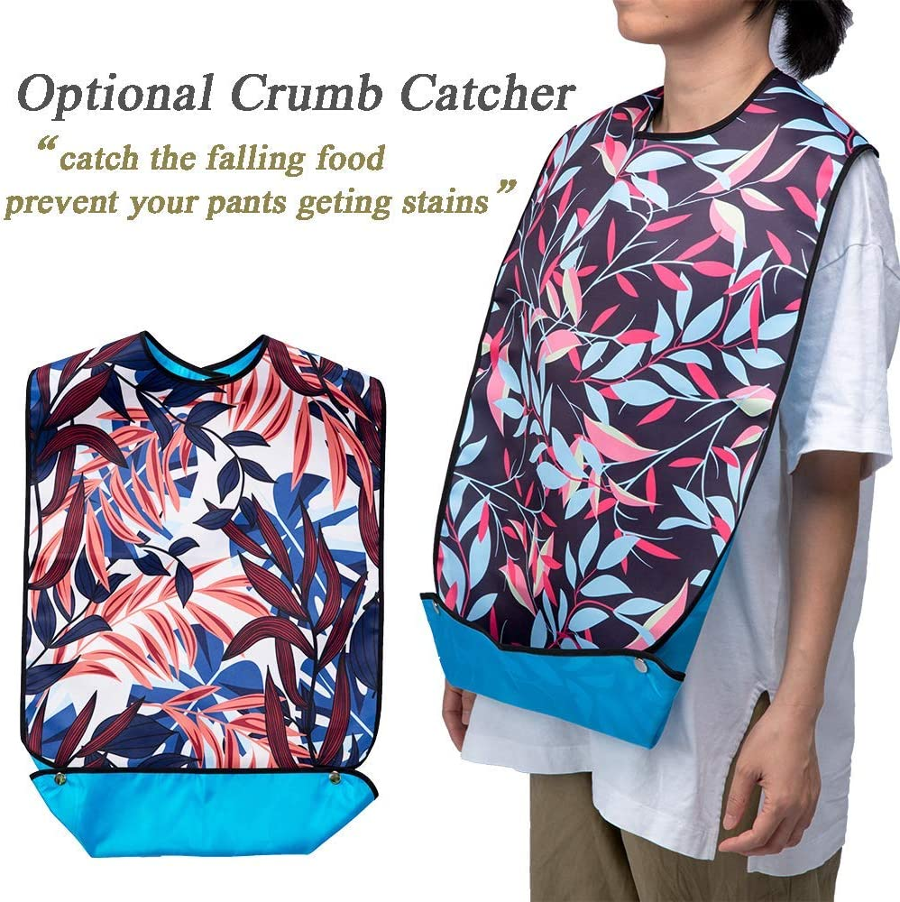 """Mikako【3pack】Adult Bib for Eating,Washable Reusable Waterproof,with Pocket,Adjustable Snap Closure,Bibs for Seniors for Eating at Mealtime,33""""L 18""""W,(Leaf Design 2): Health & Personal Care"""
