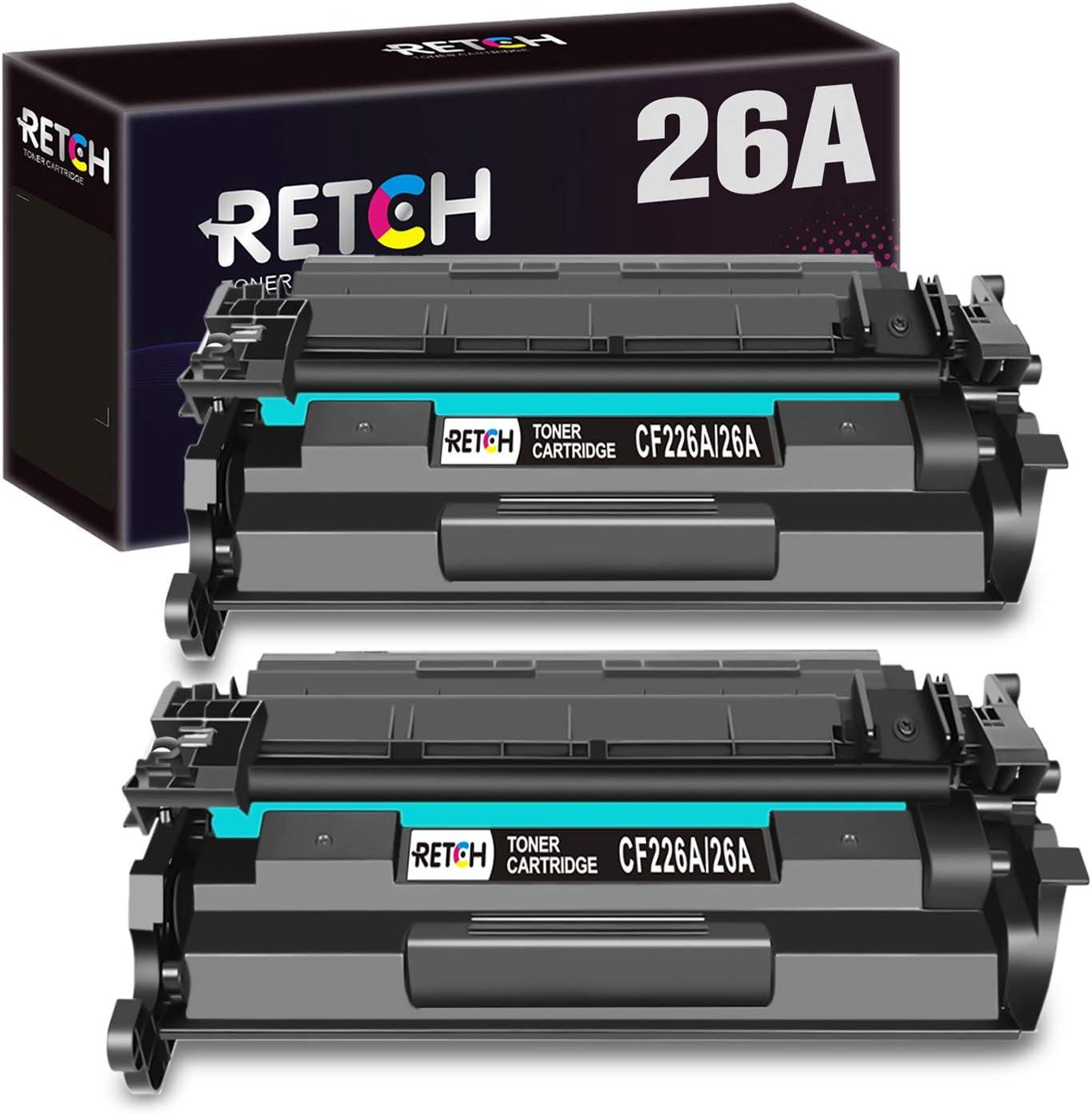 RETCH Compatible Black Toner Cartridges for HP 26A CF226A 26X CF226X, Work with Laserjet Pro M402dne M402dn M402n M402dw MFP M426fdw M426fdn Printers (2 Pack)