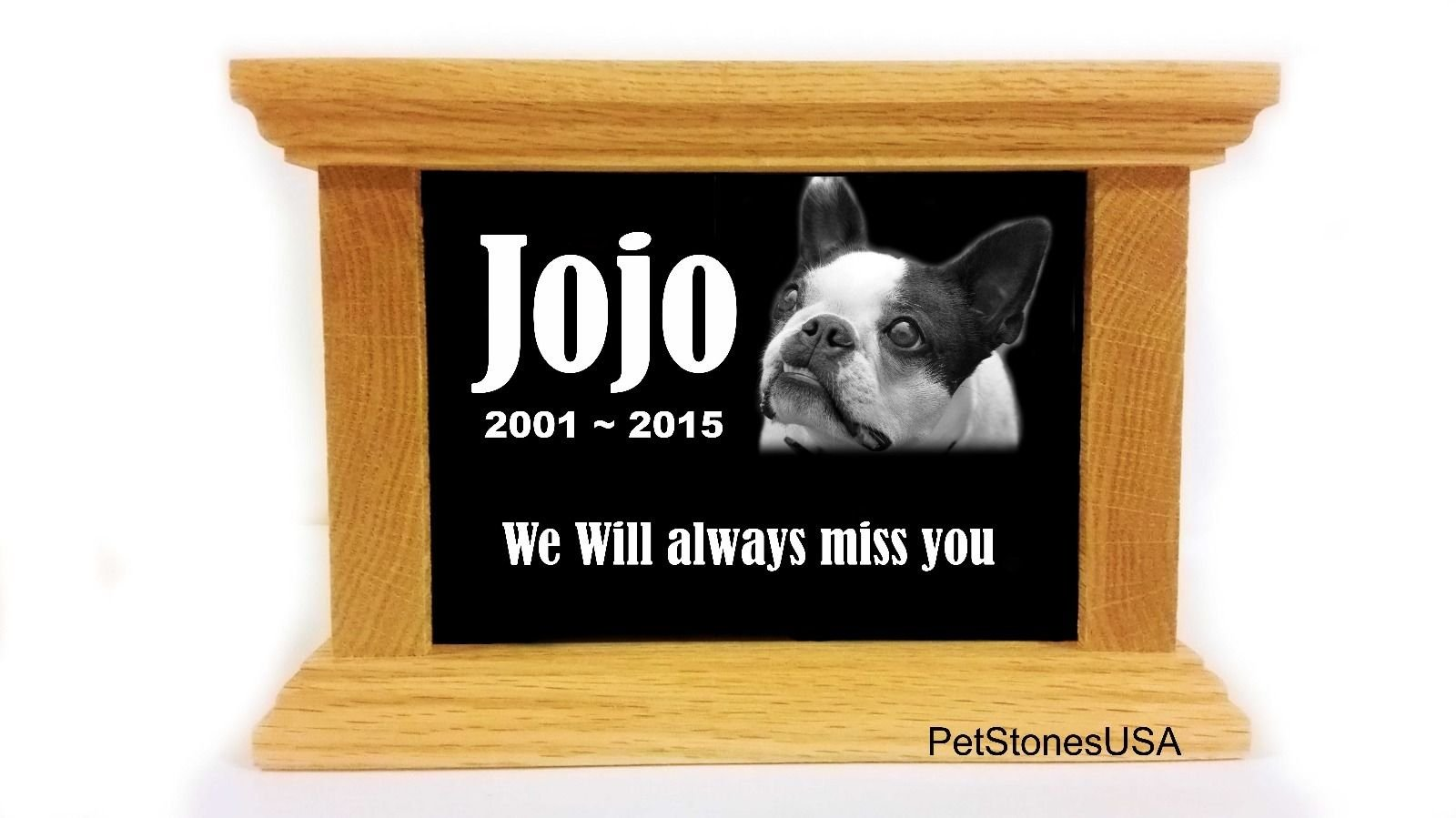 Pet Cremation Urn Oak Wood Box Photo Memorial Granite Any Animal Personalized Personalised Beagle Basset Hound Boxer