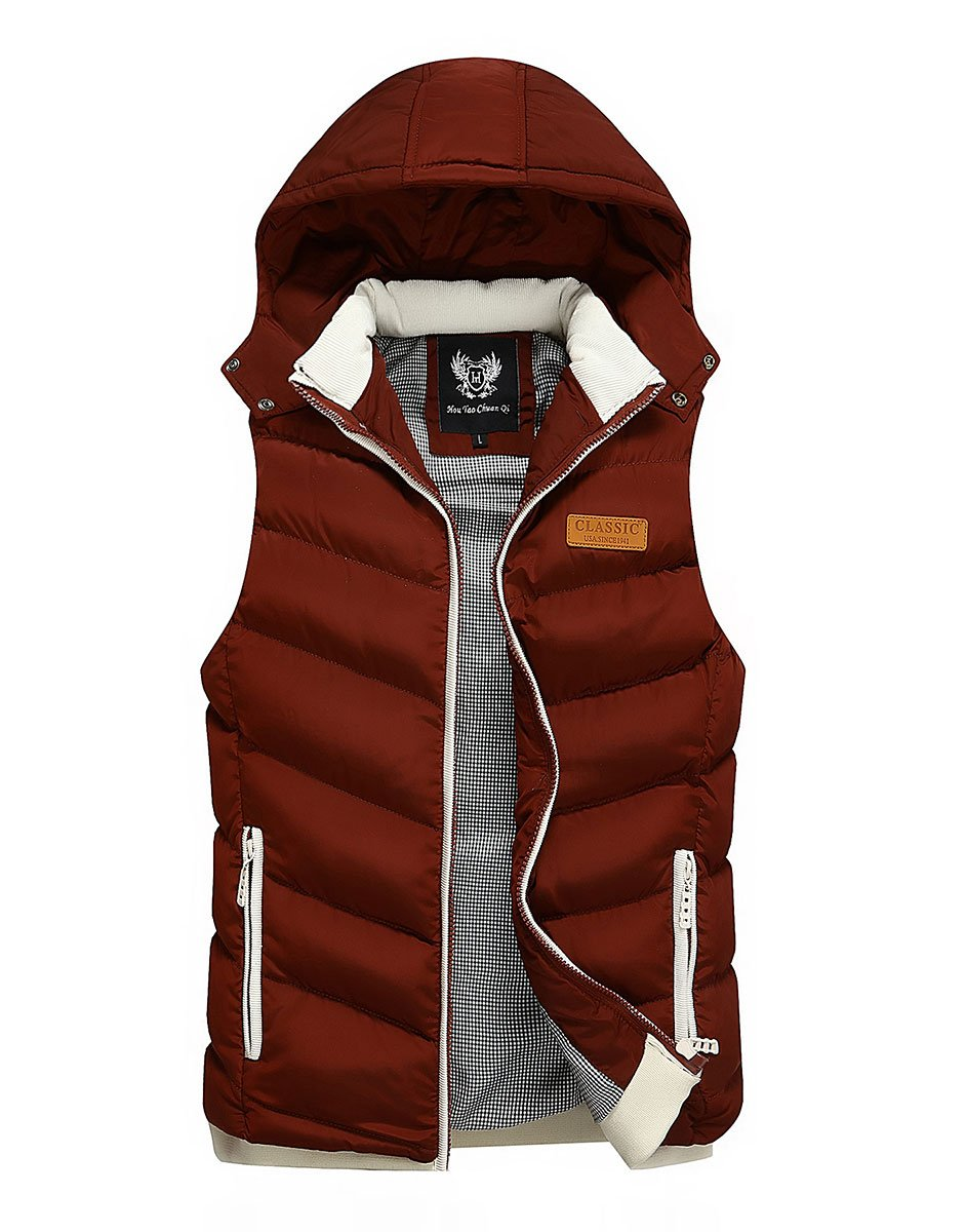 Feoya Sleeveless Down Jacket Winter Waistcoat Hooded Men's Plain Colour – Red Black Khaki Blue Green – Size Medium Large Extra-Large Extra-Extra-Large