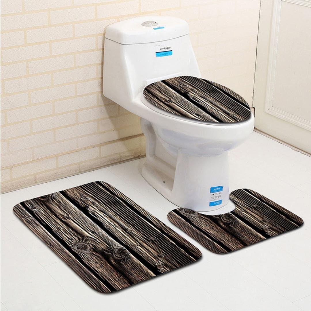 Bescita 3/pcs Creative Bois Motif antid/érapant pour abattant WC et Tapis de Salle de Bain Ensemble de d/écoration