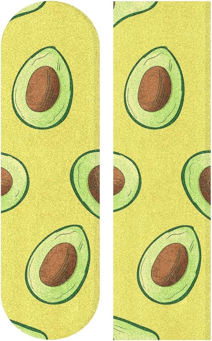 FENNEN Yellow Green Avocado Fruit Skateboard Grip Tape Sheets Graphic Longboard Griptape Bubble Free Anti-Slip 33X 9 Tapes for Teens Girls Boys