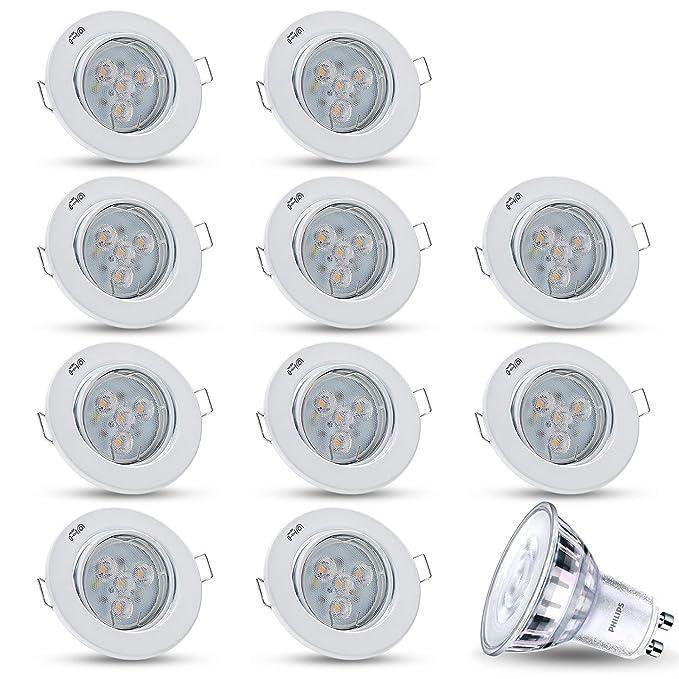 Weiss LED Einbaustrahler Schwenkbar Dimmbar DECORO Rund 2X 5W LED Warmweiss 230V IP20 Deckenstrahler Einbauleuchte Deckeneinbaustrahler Einbauspot Deckeneinbauleuchte Deckenspot Inkl