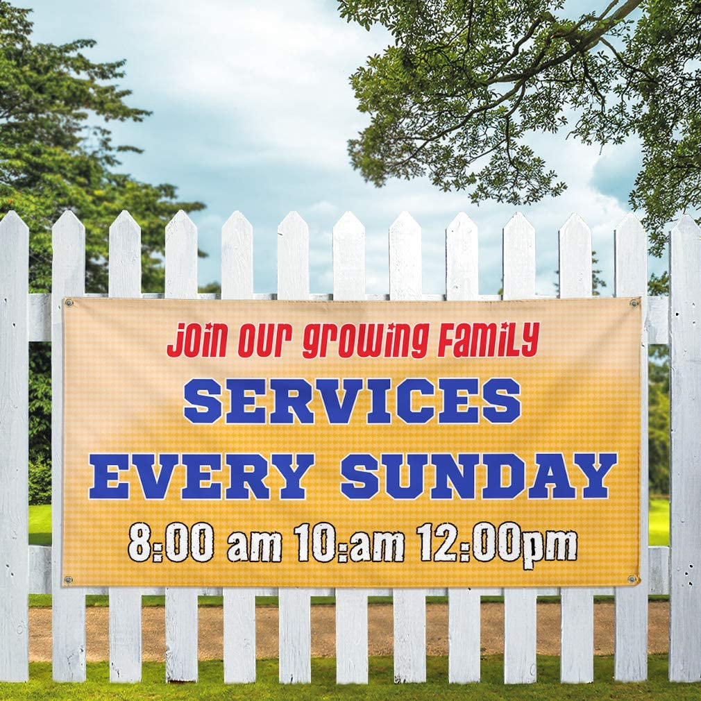 One Banner 48inx96in Multiple Sizes Available Vinyl Banner Sign Join Our Family Services Every Sunday Marketing Advertising Orange 8 Grommets