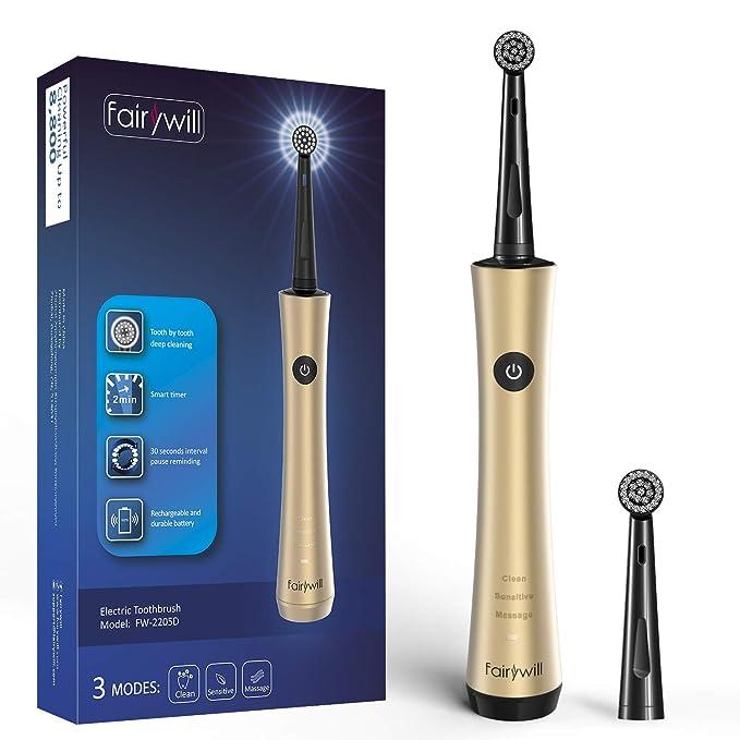 Cepillo de dientes eléctrico recargable para adultos Limpie sus dientes como dentista Poderosos cepillos de dientes giratorios Gold de Fairywill: Amazon.es: ...