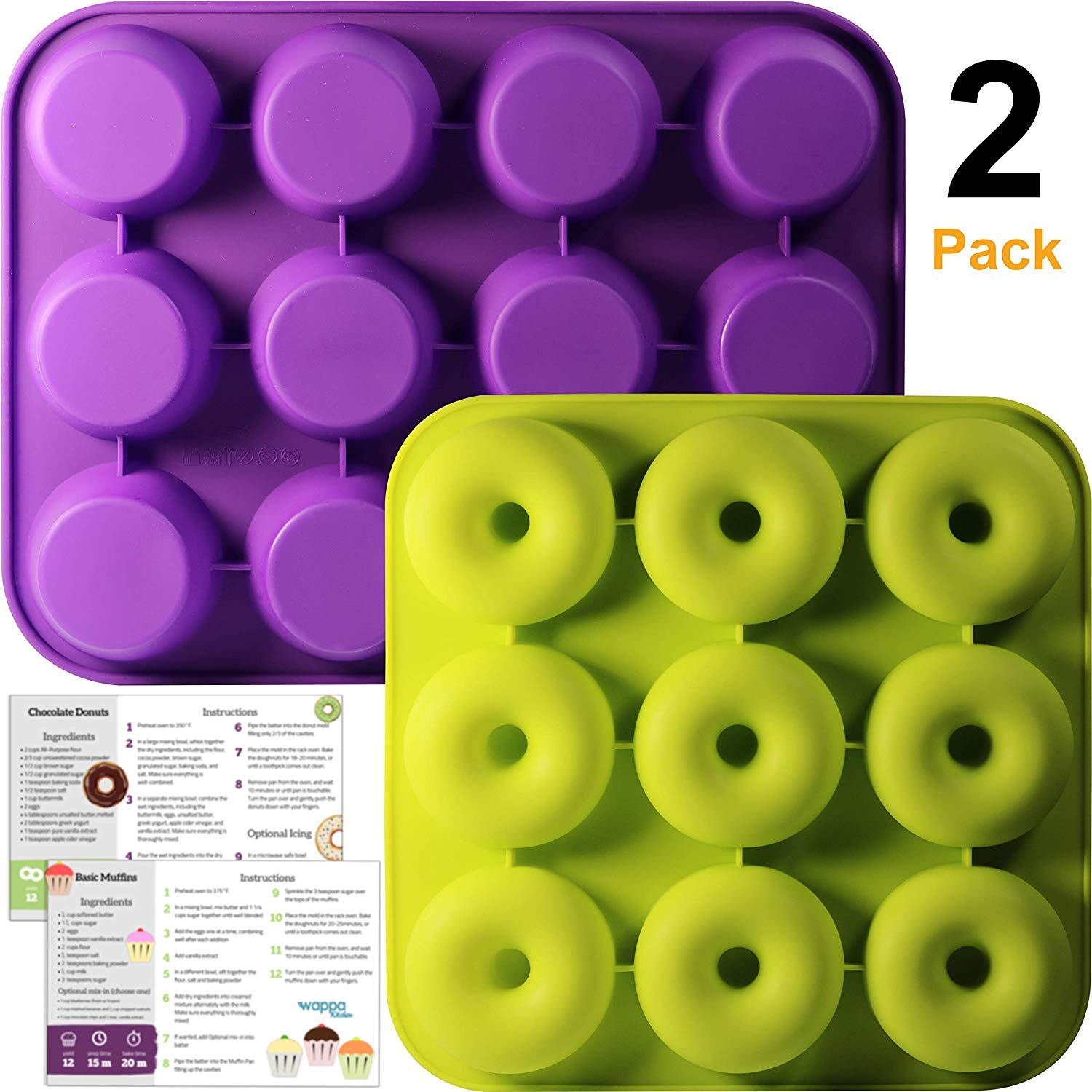 Wappa Kitchen Non Stick Donut Pan and Muffin Pan Bundle – Extremely Food Grade Silicone – FDA and European LFGB Approved – Includes Printed Recipes