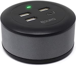 Aduro USB Charging Station for Multiple Devices [PowerUp Flair] Desktop Fast Charger 4-Port USB Hub for iPhone iPad Tablets Smartphones Black/Grey