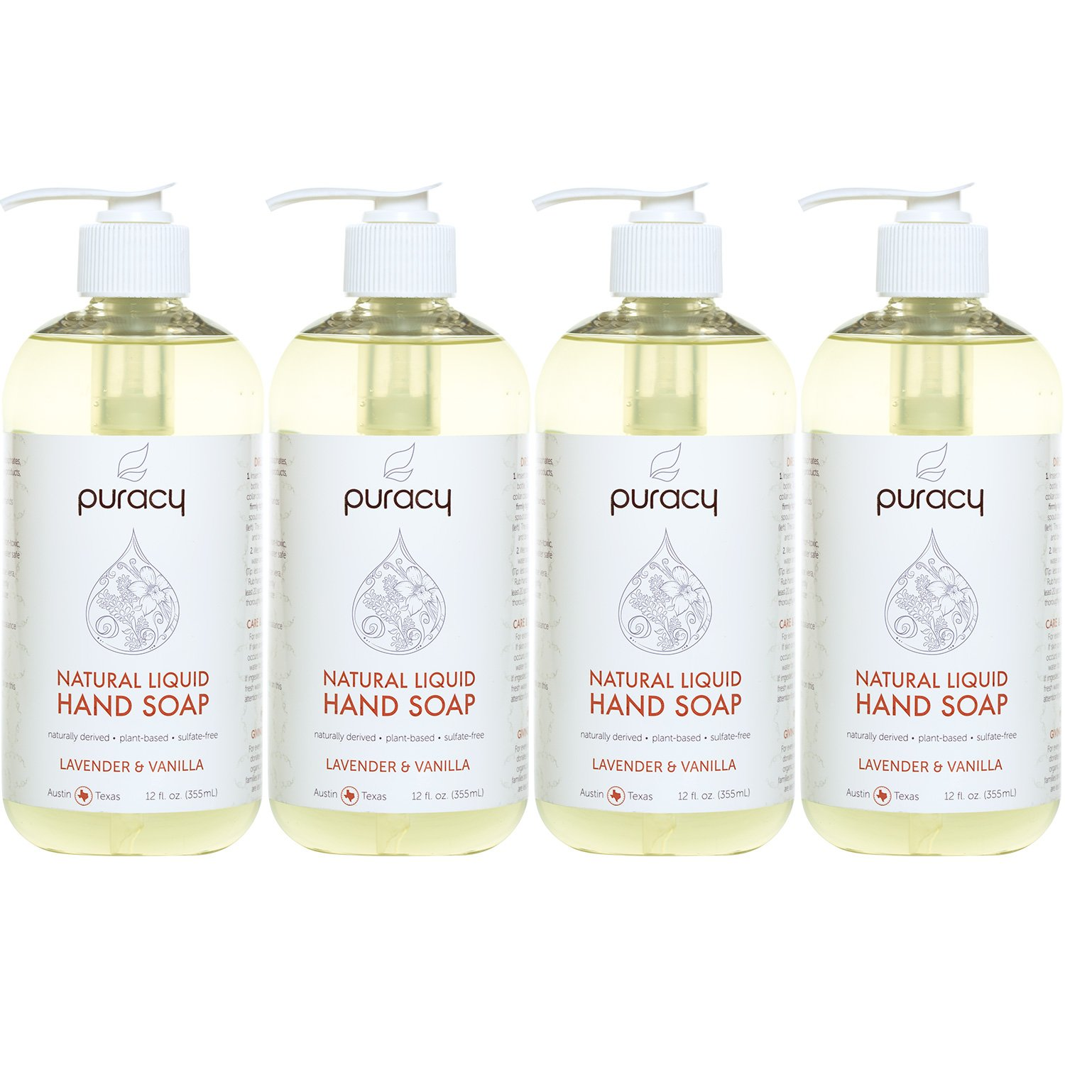 Puracy Natural Liquid Hand Soap (4-Pack), Sulfate-Free Gel Hand Wash, Lavender & Vanilla, 12 Ounce