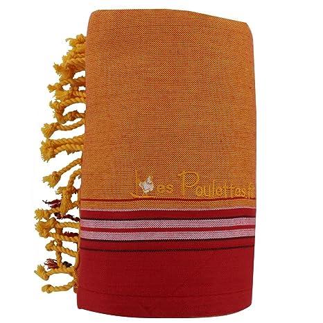 LES POULETTES Kikoy Toalla de Playa de Algodón - Color Naranja Rojo Esponja Amarillo