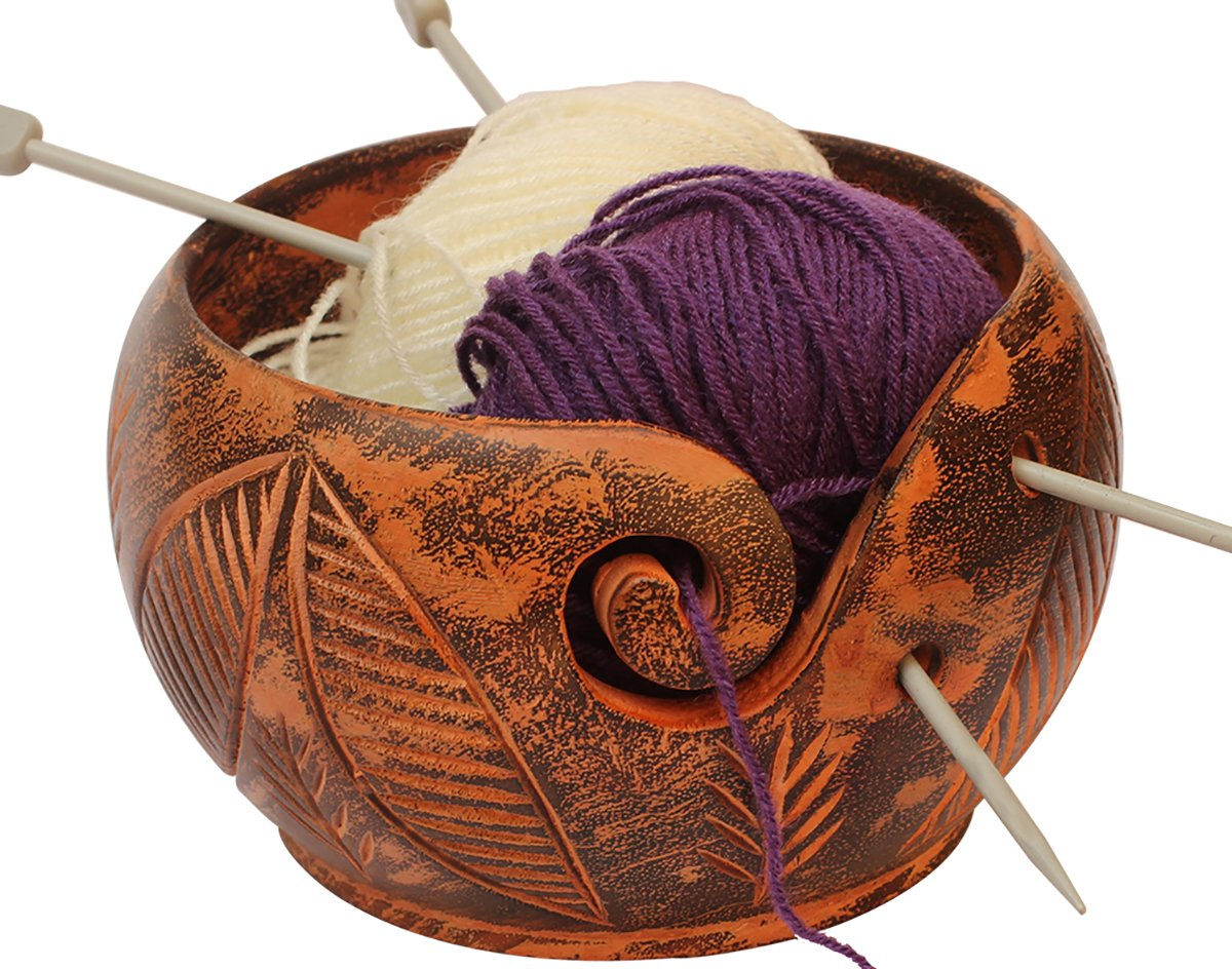 Cyber Monday Deals - Wooden Yarn Bowl Decor with Carved Double Leaf/Crochet Holder/Hand Crafted Yarn Storage Bowl/A Perfect Gift for Moms, Dads and Grandmothers by AB Handicrafts