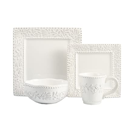 American Atelier Bianca Leaf 16-Piece Square Dinnerware Set  sc 1 st  Amazon.com : white square dinnerware sets - pezcame.com