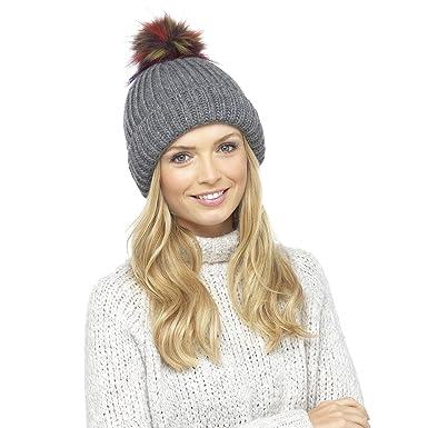 c242f1e6d8b DINZIO Ladies Chunky Soft Ribbed Beanie Hat Extra Large Multicoloured Faux  Fur Pompom Grey  Amazon.co.uk  Clothing
