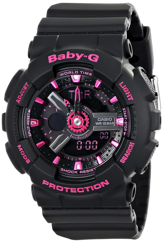 Casio Women s BA-111-1ACR Baby-G Analog-Digital Display Quartz Black Watch