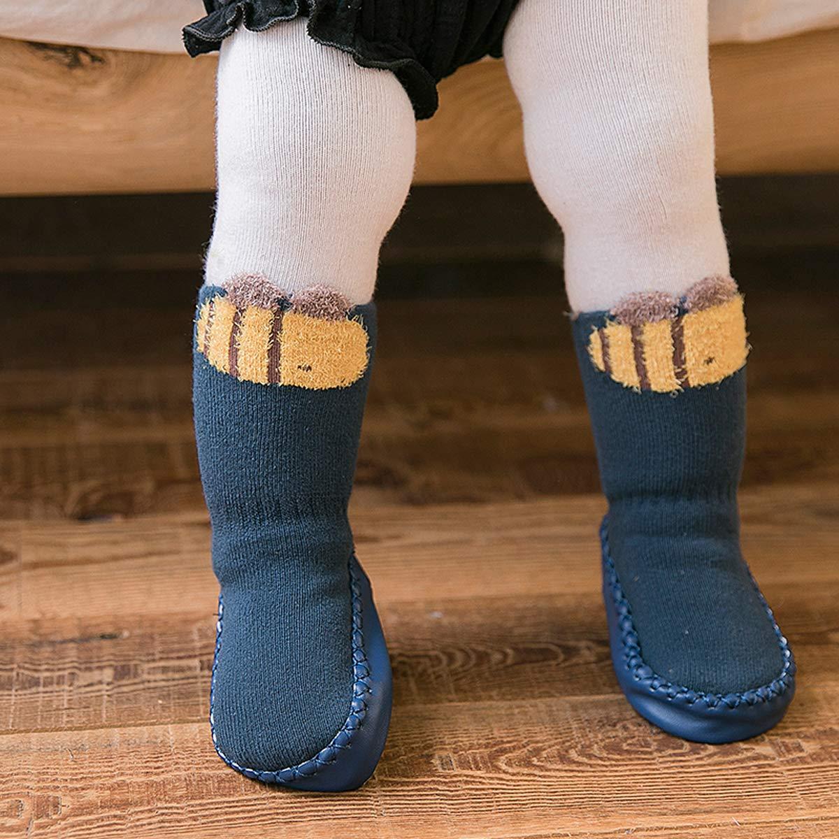 Skola Cartoon Cute Thick Winter Warm Baby Toddler Anti Slip Skid Grip Floor Socks Slipper Cotton Prewalker