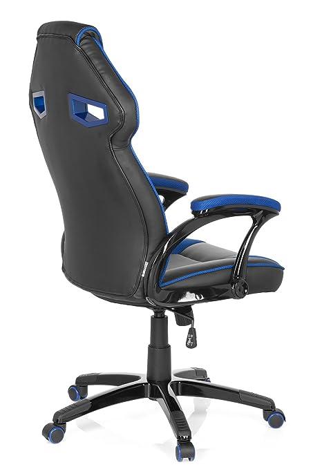 hjh OFFICE Guardian Sillón de Oficina, Piel_sintética, Negro y Azul, 49.00x60.00x126.00 cm