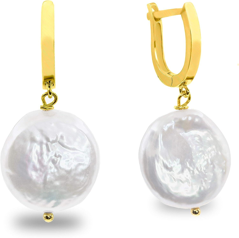Pendientes de Mujer de Perlas Cultivadas de Agua Dulce Barrocas Moneda Blancas Grandes de 14-15 mm SECRET & YOU - Diseño en Plata de Ley de 925 milésimas Bañada en Oro de 18k