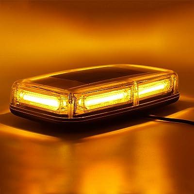 WoneNice 12V 60W Amber/Yellow COB LED Roof Top Emergency Hazard Warning LED Mini Strobe Beacon Lights Barw/Magnetic Base and 16 ft Straight Cord with Lighter Plug: Automotive