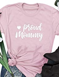 ba769e0bc Nlife Women Proud Mommy Letter T-Shirt Heart Print Casual Short Sleeve Tops  Tee
