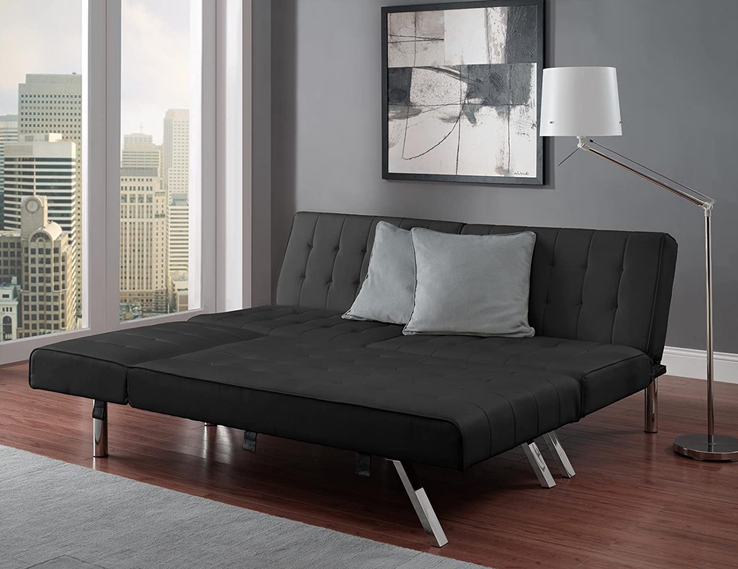 faux down leather sofa bed black ca convertible futon best home couch lounge products amazon choice dp kitchen fold