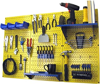 product image for Pegboard Organizer Wall Control 4 ft. Metal Pegboard Standard Tool Storage Kit with Yellow Toolboard and Blue Accessories