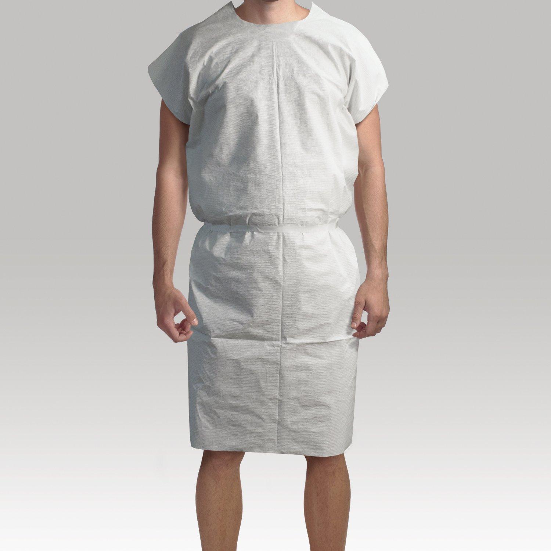 Dynarex Exam Gown 3 ply T/P/T Universal (White)  50/cs by Dynarex