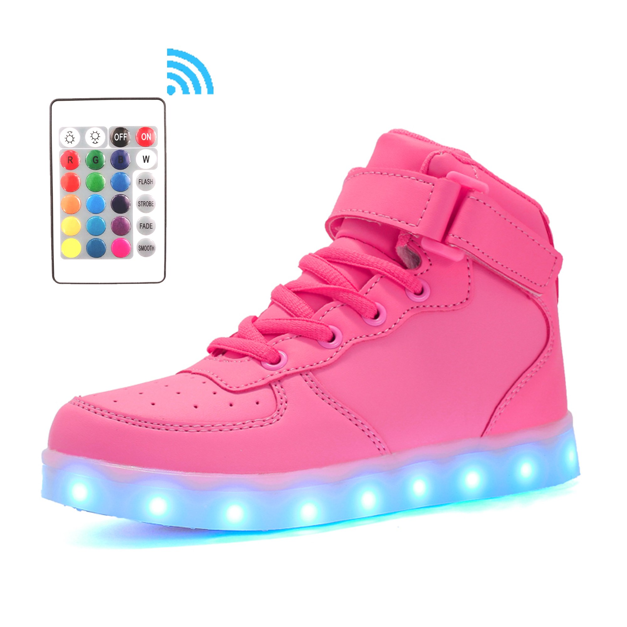 Voovix Kids LED Light up Shoes High-top Flashing Sneakers with Remote Control for Boys and Girls(Pink,US11.5/CN30)