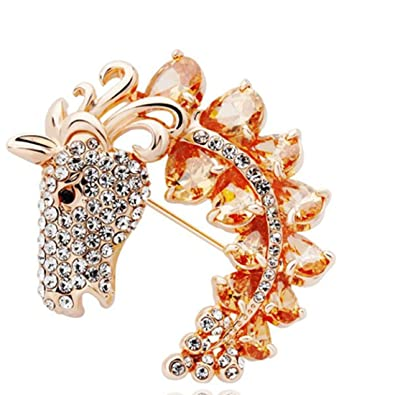 Ananth Jewels Embellished with Swarovski Rhinestone Peacock Shaped Brooches  for Women