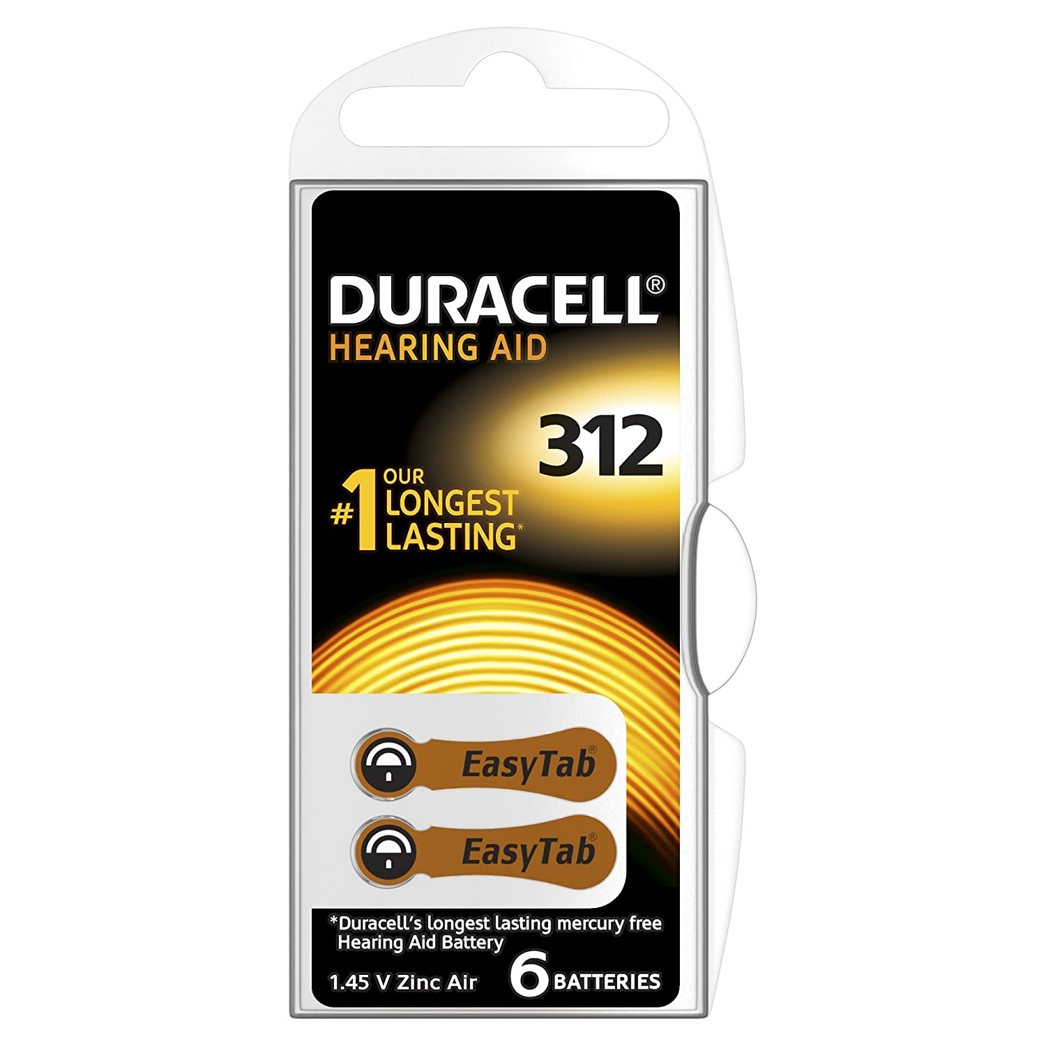 Pack of 6 Duracell Activair Size 312 1.4 V Zinc Air EasyTab  Brown tab Hearing Aid Batteries Long expiry