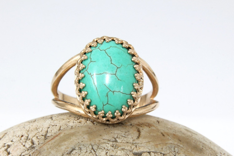 Turquoise oval ring, rose gold ring, 14k rose gold filled ring, pink gold ring, pink gold turquoise ring, bridal ring